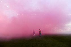 May 6, 2018 - Liege, BELGIUM - Illustration picture shows fog from the fireworks at the start of the Jupiler Pro League match between Standard de Liege and KRC Genk, in Liege, Sunday 06 May 2018, on day seven of the Play-Off 1 of the Belgian soccer championship. BELGA PHOTO LAURIE DIEFFEMBACQ (Credit Image: © Laurie Dieffembacq/Belga via ZUMA Press)