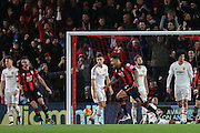 Joshua King of Bournemouth celebrates his winning goal during the Barclays Premier League match between Bournemouth and Manchester United at the Goldsands Stadium, Bournemouth, England on 12 December 2015. Photo by Phil Duncan.