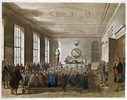 Meeting of the Agricultural Society, London. Illustration by Pugin and Rowlandson from 'Microcosm of London'  Ackermann, London 1808-10. Agricultural improvements in practice and machinery advanced greatly in late 18th and early 19th centuries helped by S