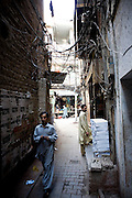 "Narrow streets of the historical ""Old City' sector of Lahore, Pakistan."