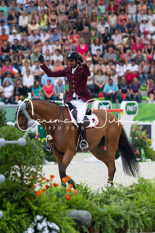 Shaikh Ali bin Khali Al Thani, (QAT), Eurocommerce California - World Champions, - Second Round Team Competition - Alltech FEI World Equestrian Games&trade; 2014 - Normandy, France.<br /> &copy; Hippo Foto Team - Leanjo De Koster<br /> 25/06/14