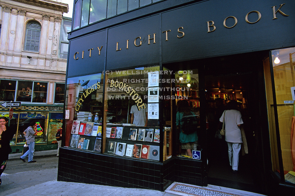 Image of City Lights Bookstore in downtown San Francisco, California, America west coast