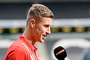 Milton Keynes Dons midfielder Ryan Colclough (49)  interviewed by Sky Sports during the EFL Sky Bet League 1 match between Milton Keynes Dons and Port Vale at stadium:mk, Milton Keynes, England on 9 October 2016. Photo by Dennis Goodwin.