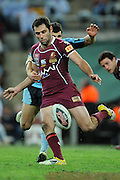 May 25th 2011: Cameron Smith of the Maroons kicks the ball during game 1 of the 2011 State of Origin series at Suncorp Stadium in Brisbane, Australia on May 25, 2011. Photo by Matt Roberts/mattrIMAGES.com.au / QRL