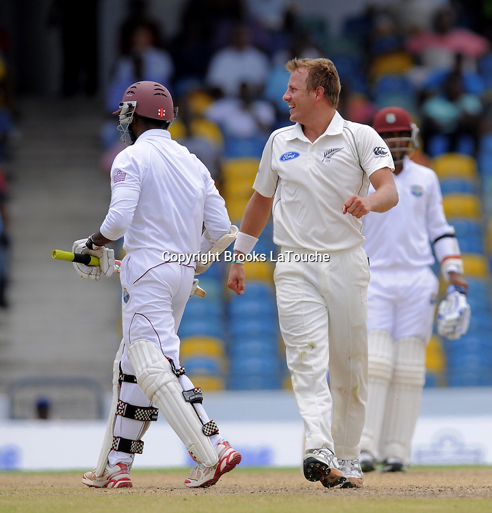 New Zealand bowler Neil Wagner celebrates the dismissal of West Indies batsman Shivnarine Chanderpaul during day three of the Third and Final Test West Indies v New Zealand at Kensington Oval, Barbados.<br /> Photo: Randy Brooks/www.photosport.co.nz
