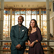 PUERTO RICO -- JANUARY  10, 2018: Actors Donald Webber Jr, who plays Aaron Burr, and Julia Harriman, who plays Eliza Hamilton on the musical Hamilton, photographed in the Museo de Arte de Puerto Rico, in Santurce,  on January 10, 2018. <br /> (Angel Valentin / For The Times)