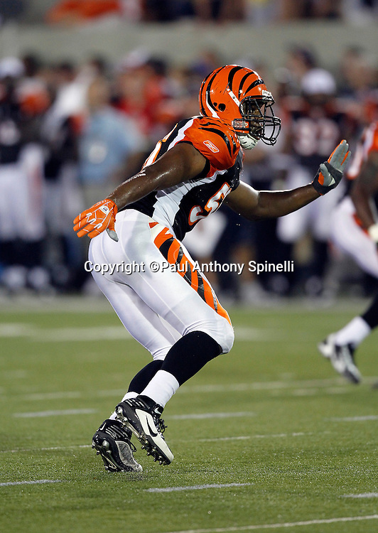 Cincinnati Bengals rookie linebacker Roddrick Muckelroy (56) chases a play during the NFL Pro Football Hall of Fame preseason football game between the Dallas Cowboys and the Cincinnati Bengals on Sunday, August 8, 2010 in Canton, Ohio. The Cowboys won the game 16-7. (©Paul Anthony Spinelli)