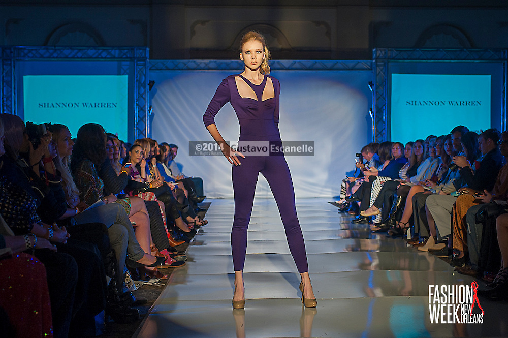 FASHION WEEK NEW ORLEANS: Designer Shannon Warren show case her design on the runway at the Board of Trade, Fashion Week New Orleans on Wednesday March 19. 2014. #FWNOLA, #FashionWeekNOLA, #Design #FashionWeekNewOrleans, #NOLA, #Fashion #BoardofTrade, #GustavoEscanelle, #TraceeDundas , #romeyRoe, #DominiqueWhite . View more photos at <br /> http://Gustavo.photoshelter.com.