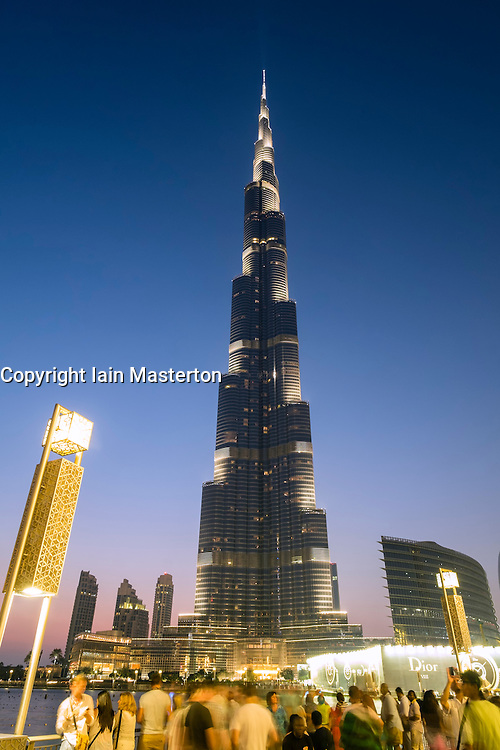 Evening view of Burj Khalifa tower and Dubai Mall shopping centre in Dubai United Arab Emirates
