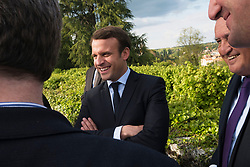 Former prime minister Jean-Pierre RAFFARIN, visited site of a future gastronomy school. during the visit fo the hopeful president, Emmanuel Macron where the presidential candidate paid his respects to the 642 victims of the 1944 massacre, at Oradour Sur Glace, France, on April 28, 2017. Photo by Magnum/ABACAPRESS.COM
