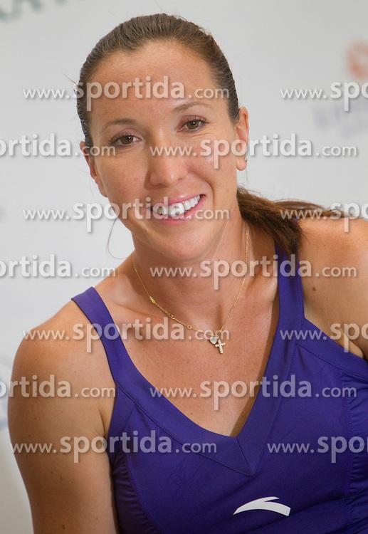Jelena Jankovic of Serbia at  press conference after 1st Round of doubles at Banka Koper Slovenia Open WTA Tour tennis tournament, on July 19, 2010 in Portoroz / Portorose, Slovenia. (Photo by Vid Ponikvar / Sportida)