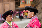 Women from Yao minority nationality with traditional long hair according to folk custom, Ping An, Guilin, China