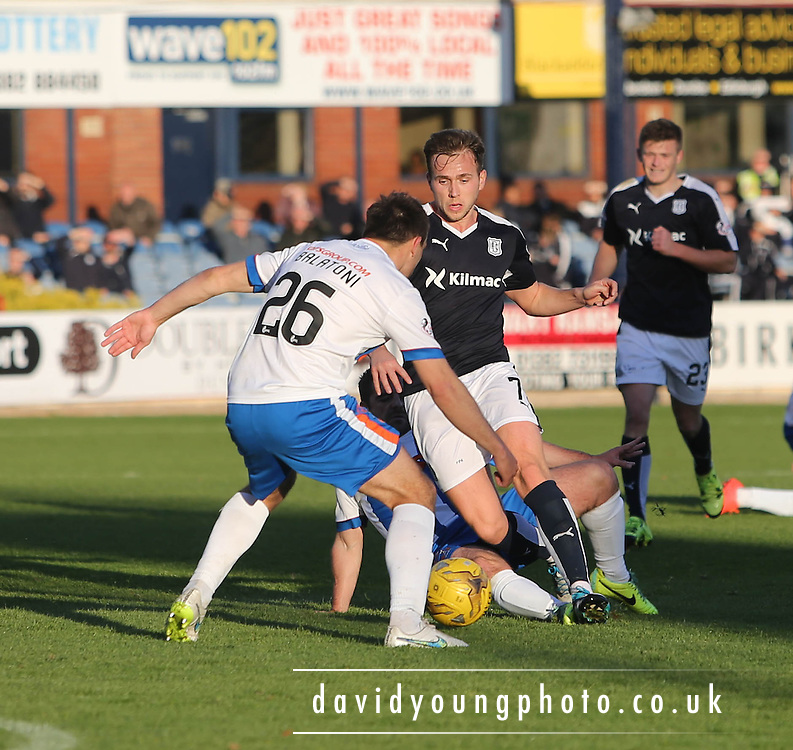 Dundee&rsquo;s Greg Stewart runs at Kilmarnock&rsquo;s Conrad Balatoni - Dundee v Kilmarnock, Ladbrokes Premiership at Dens Park <br /> <br />  - &copy; David Young - www.davidyoungphoto.co.uk - email: davidyoungphoto@gmail.com