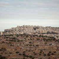 The East Jerusalem Israeli settlement of Har Homa sits adjacent the Palestinian town of Beit Sahour, West Bank.