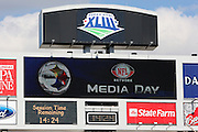 TAMPA, FL - JANUARY 27: The stadium scoreboard shows the time remaining as the AFC Pittsburgh Steelers speak to the media during Super Bowl XLIII Media Day at Raymond James Stadium on January 27, 2009 in Tampa, Florida. ©Paul Anthony Spinelli