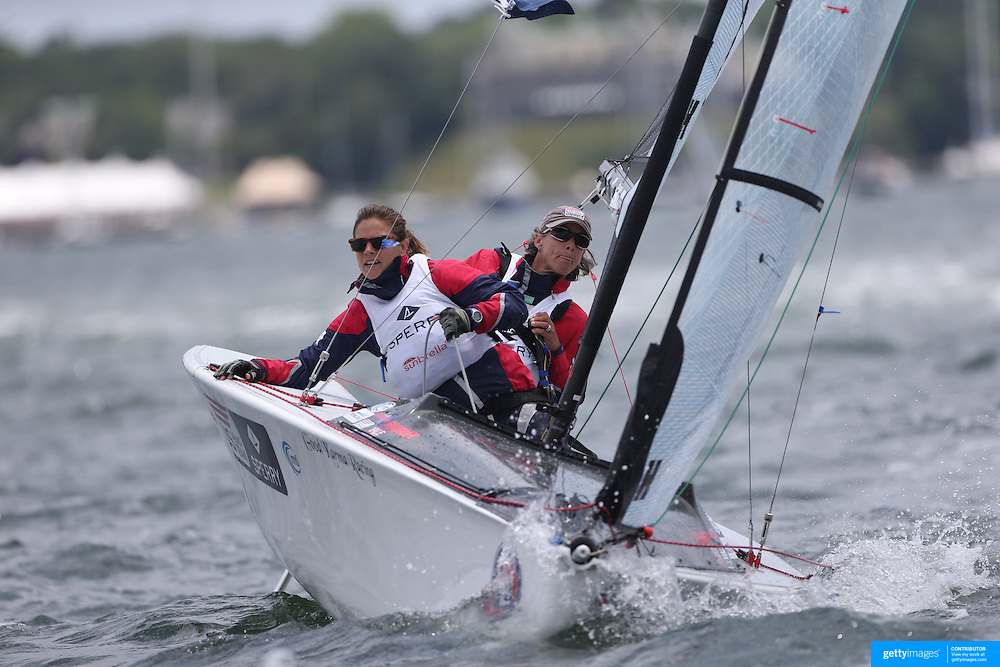 Skipper Sarah Everhart Skeels, (right), Tiverton, RI, and Cindy Walker, Middletown, RI, the only all female team competing in The Skud 18 class, in action during the C. Thomas Clagett, Jr. Memorial Clinic &amp; Regatta at Newport, Rhode Island hosted by Sail Newport at Fort Adams. <br /> The Clagett is North America&rsquo;s premier event for sailors with disabilities with sailors competing in the 3 Paralympic class boats and is an integral part of preparation for athletes preparing for  Paralympic and world championship racing. Newport, Rhode Island, USA. 26th June 2015. Photo Tim Clayton