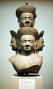 Five-headed bust of Shiva, third divinity of Hindu trinity (trimurti). Mid-10th century. Photograph.