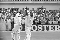 File photo dated 05-06-1994 of England's DeFreitas celebrates 100 test wickets.