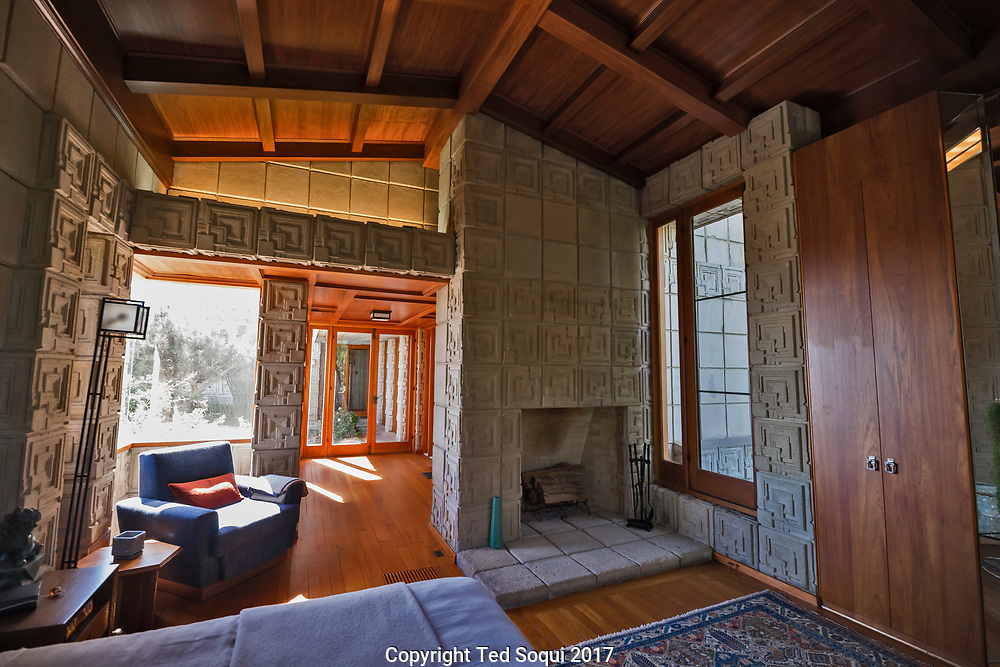 The Ennis House designed by Frank Lloyd Wright.<br /> Master bedroom.