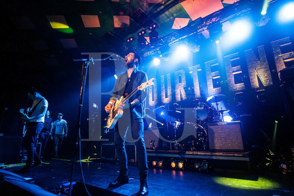 Liam Fray of The Courteeners performs on stage at Barrowlands Ballroom on October 31, 2014 in Glasgow, United Kingdom. (Photo by Ross Gilmore