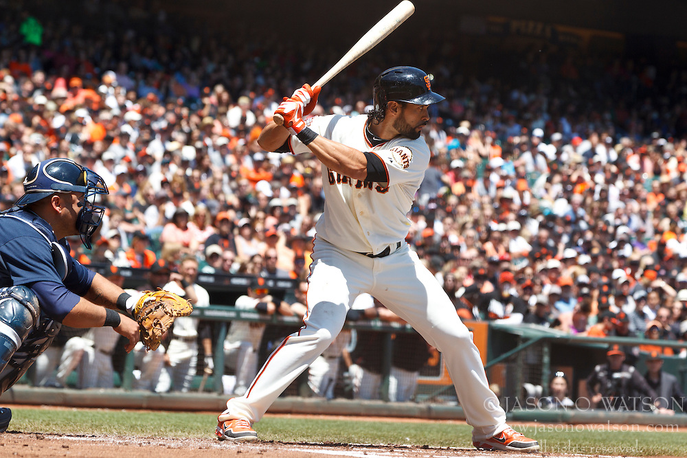 SAN FRANCISCO, CA - MAY 11: Angel Pagan #16 of the San Francisco Giants at bat against the Atlanta Braves during the first inning at AT&T Park on May 11, 2013 in San Francisco, California. The San Francisco Giants defeated the Atlanta Braves 10-1. (Photo by Jason O. Watson/Getty Images) *** Local Caption *** Angel Pagan
