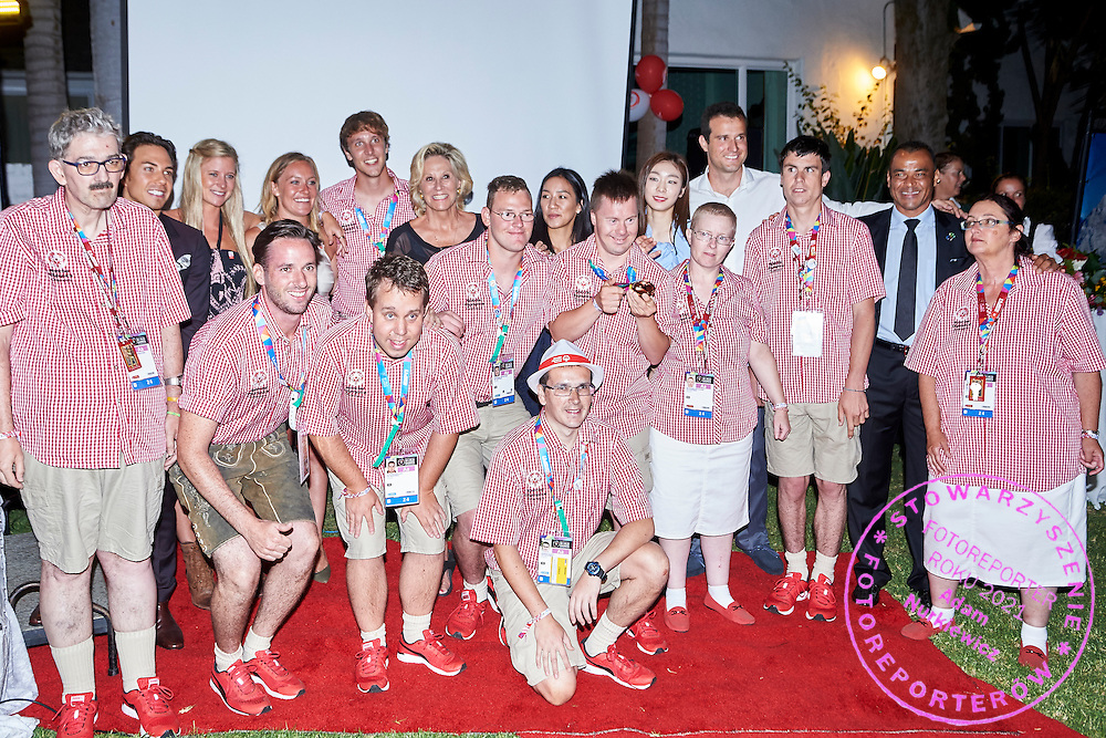 SO Austria team and champions pose to team photo while Austria 2017 Reception during third day of the Special Olympics World Games Los Angeles 2015 on July 27, 2015 in Los Angeles, USA.<br /> USA, Los Angeles, July 27, 2015<br /> <br /> Picture also available in RAW (NEF) or TIFF format on special request.<br /> <br /> For editorial use only. Any commercial or promotional use requires permission.<br /> <br /> Adam Nurkiewicz declares that he has no rights to the image of people at the photographs of his authorship.<br /> <br /> Mandatory credit:<br /> Photo by &copy; Adam Nurkiewicz / Mediasport