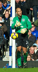 LIVERPOOL, ENGLAND - Saturday, February 20, 2010: Everton's goalkeeper Tim Howard looks dejected after conceding Manchester United's opening goal during the Premiership match at Goodison Park. (Photo by: David Rawcliffe/Propaganda)
