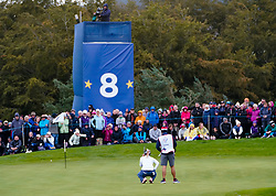 Auchterarder, Scotland, UK. 14 September 2019. Saturday afternoon Fourballs matches  at 2019 Solheim Cup on Centenary Course at Gleneagles. Pictured; Annie Park and caddie study putt on the 8th green. Iain Masterton/Alamy Live News
