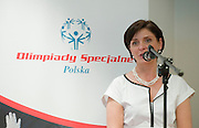 Minister of Sport Joanna Mucha while Press Conference of Special Olympics at Novotel Hotel in Warsaw before the UEFA EURO 2012 Quarterfinal football match between Portugal and Czech Republic at National Stadium in Warsaw on June 21, 2012...Poland, Warsaw, June 21, 2012..Picture also available in RAW (NEF) or TIFF format on special request...For editorial use only. Any commercial or promotional use requires permission...Photo by © Adam Nurkiewicz / Mediasport