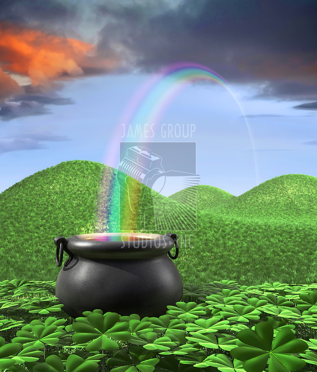 A pot at the end of the rainbow shown surounded by a lucky clover garden and roling hills of grass in the background. Tall Portrate layout with room for copyspace at the top.