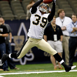 August 12, 2011; New Orleans, LA, USA;  New Orleans Saints safety Chris Reis (39) prior to kickoff of a preseason game against the San Francisco 49ersat the Louisiana Superdome. Mandatory Credit: Derick E. Hingle