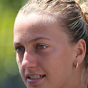Petra Kvitova, Czech Republic, during a media session before the 1st round of the Connecticut Open at the Connecticut Tennis Center at Yale, New Haven, Connecticut, USA. 17th August 2014. Photo Tim Clayton