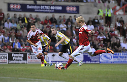Swindon Town's Alex Pritchard fails to score a penalty.  - Photo mandatory by-line: Alex James/JMP - Tel: Mobile: 07966 386802 06/08/2013 - SPORT - FOOTBALL - County Ground - Swindon -  Swindon Town V Torquay United - Capital One Cup - First Round