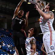 Sioux Falls Skyforce Guard RODNEY MCGRUDER (4) attempts a hook shot as Delaware 87ers Center JORDAN RAILEY (32) defends in the first half of a NBA D-league regular season basketball game between the Delaware 87ers and the Sioux Falls Skyforce Friday, Mar. 25, 2016, at The Bob Carpenter Sports Convocation Center in Newark, DEL.
