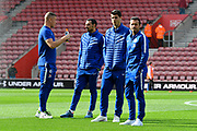 Ross Barkley (8) of Chelsea, Davide Zappacosta (21) of Chelsea, Alvaro Morata (29) of Chelsea and Pedro (11) of Chelsea on the pitch on arrival to St Mary's Stadium before the Premier League match between Southampton and Chelsea at the St Mary's Stadium, Southampton, England on 7 October 2018.