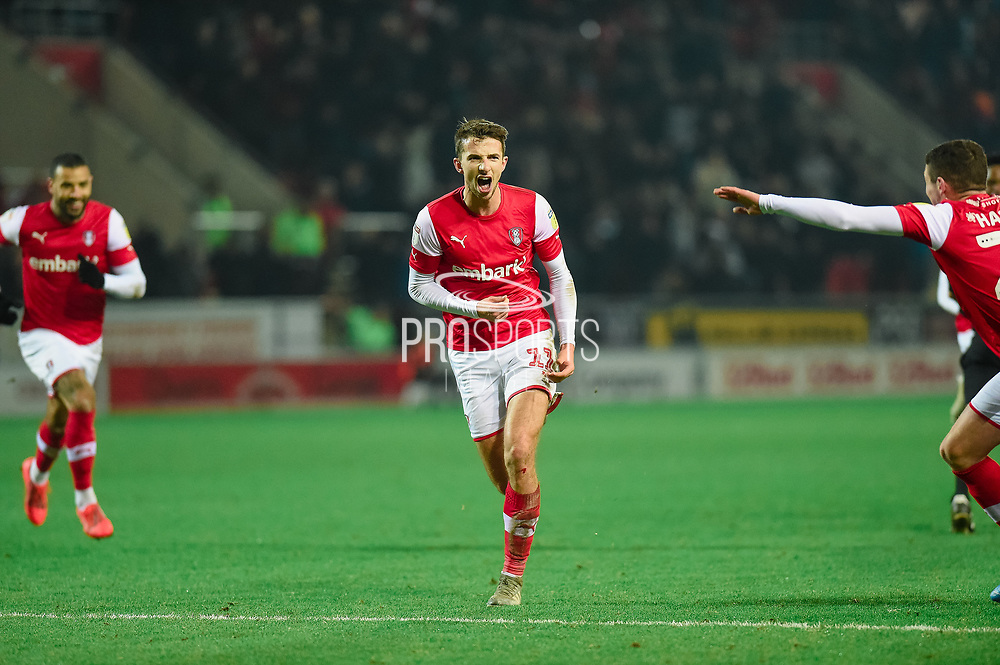 GOAL. Daniel Barlaser of Rotherham United scores to make it 2-1 to Rotherham during the EFL Sky Bet League 1 match between Rotherham United and Blackpool at the AESSEAL New York Stadium, Rotherham, England on 1 January 2020.
