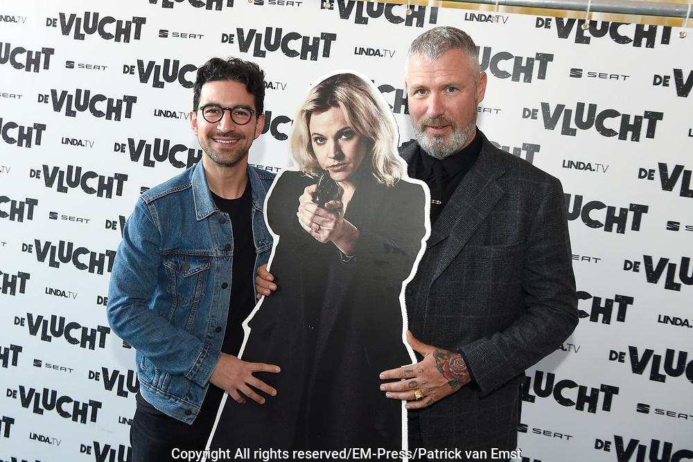 Presentatie van de nieuwe grote serie van LINDA.tv. De Vlucht .<br /> <br /> Op de foto:  Sinan Eroglu  en  Eric Corton met een poster van Loes Haverkort