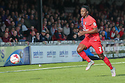 York City defender Marvin McCoy during the Sky Bet League 2 match between York City and Cambridge United at Bootham Crescent, York, England on 3 October 2015. Photo by Simon Davies.