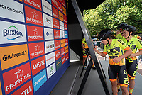 Team Ale Cipollini sign the signature board ahead of The Prudential RideLondon Classique. Saturday 28th July 2018<br /> <br /> Photo: Bob Martin for Prudential RideLondon<br /> <br /> Prudential RideLondon is the world's greatest festival of cycling, involving 100,000+ cyclists - from Olympic champions to a free family fun ride - riding in events over closed roads in London and Surrey over the weekend of 28th and 29th July 2018<br /> <br /> See www.PrudentialRideLondon.co.uk for more.<br /> <br /> For further information: media@londonmarathonevents.co.uk