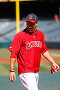 ANAHEIM, CA - JULY 28:  Mike Trout #27 of the Los Angeles Angels of Anaheim laughs before the game against the Tampa Bay Rays on Saturday, July 28, 2012 at Angel Stadium in Anaheim, California. The Rays won the game in a 3-0 shutout. (Photo by Paul Spinelli/MLB Photos via Getty Images) *** Local Caption *** Mike Trout
