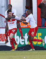 Picture by David Horn/Focus Images Ltd +44 7545 970036.16/03/2013.Dani Lopez of Stevenage celebrates scoring his and his side's second goal during the npower League 1 match at the Lamex Stadium, Stevenage.