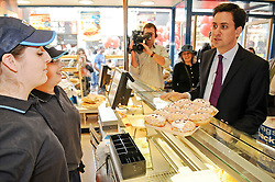 © licensed to London News Pictures. Gravesend, UK.18/04/2011. Labour leader Ed Miliband at a Greggs store in Gravesend, Kent  today (18/04/2011) drumming up support ahead of the AV campaign and key local council elections in three weeks. Please see special instructions. Picture credit should read Grant Falvey/LNP.