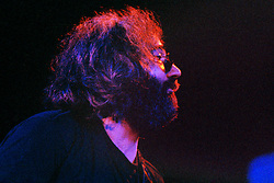 """Jerry Garcia with The Grateful Dead Live at Huntington West Virginia 16 April 1978. Jerry looking right over to Keith on piano with the knowing look of """"this is working"""". Image No. 78C03-26"""
