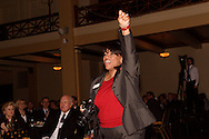 Ohio Arts Council board member Sharon Howard reacts following the acceptance speech of Michael Lippert's Arts Education award during the Governor's Awards for the Arts in Ohio & Arts Day Luncheon at the Athenaeum in downtown Columbus, Ohio, Wednesday, May 11, 2011.