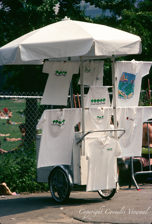 T-shirt vendor in Central Park, New York City, 1991.