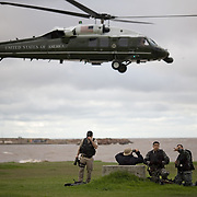Counter snipers look for discrepancies President George W. Bush and First Lady Laura Bush depart for Anchorena Park, Saturday, March 10, 2007, in Montevideo, Uruguay.<br /> <br /> Photo by Khue Bui