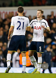 Federico Fazio and Jan Vertonghen celebrate after Tottenham Hotspur win 2-1 - Photo mandatory by-line: Rogan Thomson/JMP - 07966 386802 - 30/11/2014 - SPORT - FOOTBALL - London, England - White Hart Lane - Tottenham Hotspur v Everton - Barclays Premier League.
