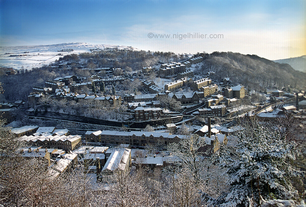 Snow covered Hebden Bridge in West Yorkshire.