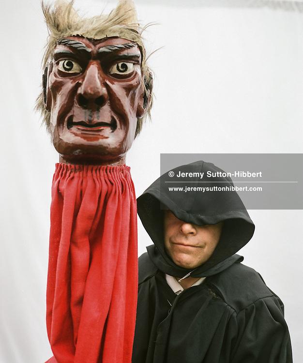 John Cockburn acting as the Devil (De'il), St. Ronan's games festival, Innerleithen, Scotland on 19th July 2014.