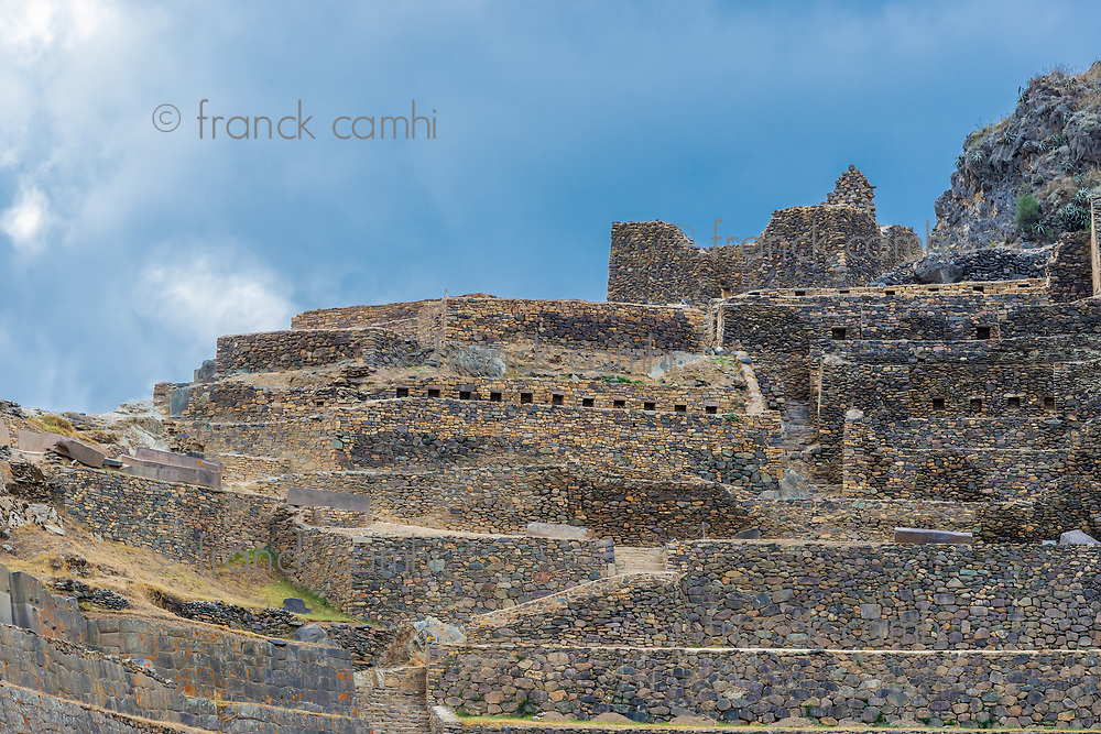 Ollantaytambo, Incas ruins in the peruvian Andes at Cuzco Peru